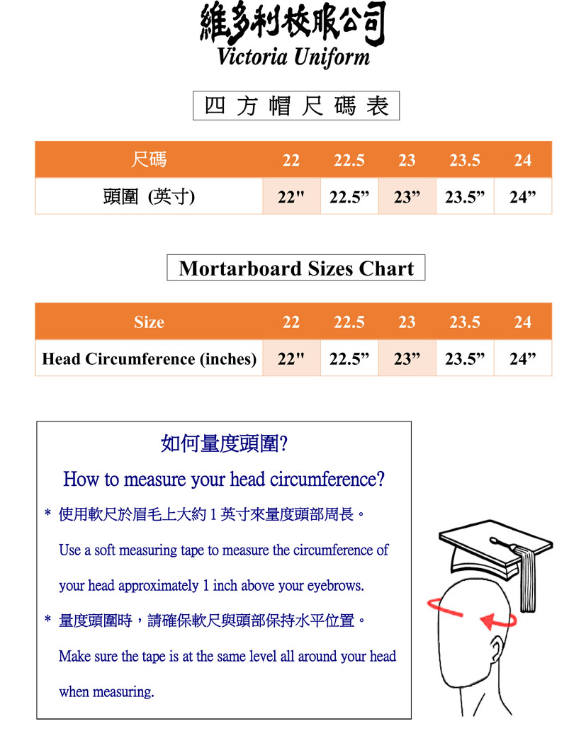 Gown & Mortarboard Size Chart for Reference